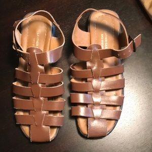 Brown leather caged sandals 8